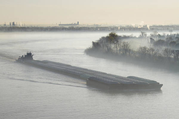 Tug Boat Photograph - Mist Shrouded River And Tugboat by Jeremy Woodhouse