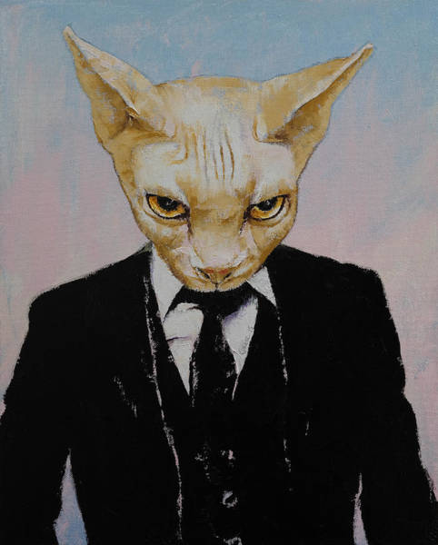 Tuxedo Cat Painting - Mister Cat by Michael Creese
