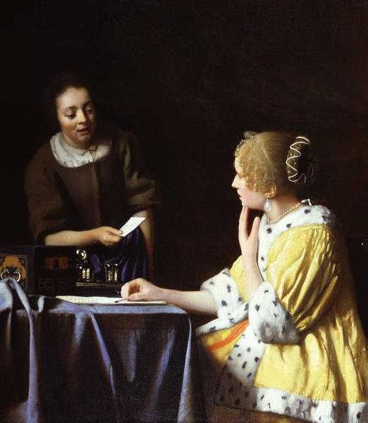 Painting - Mistress And Maid  by Jan Vermeer