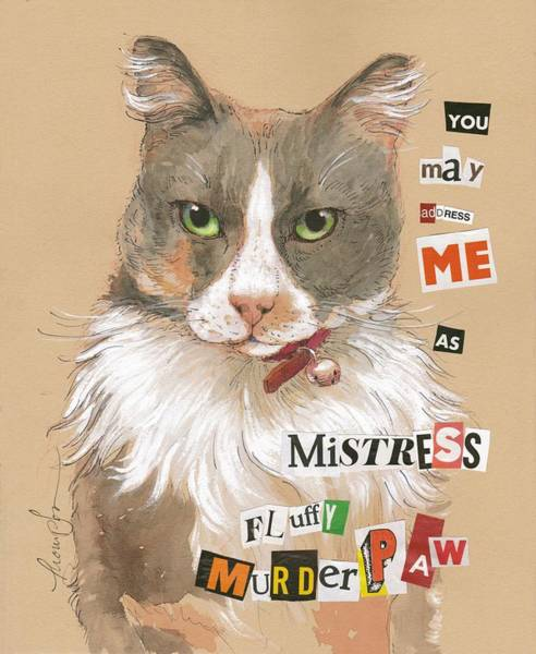 Calico Cat Painting - Mistress Fluffy Murderpaw by Tracie Thompson