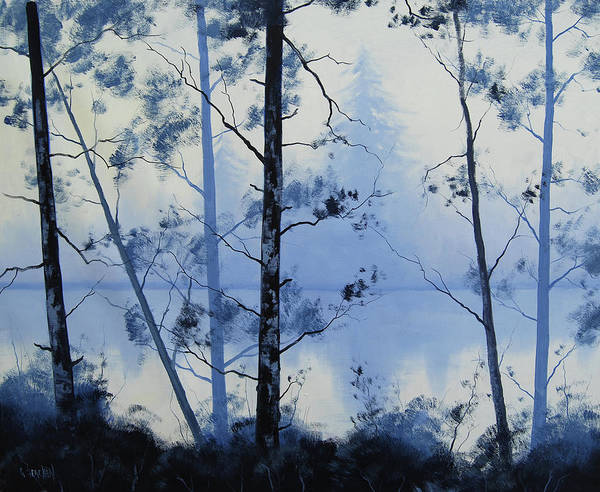 Misty Wall Art - Painting - Misty Blue Lake by Graham Gercken