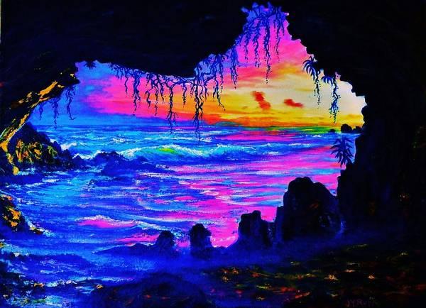 Ohau Wall Art - Painting - Misty Cave Sunset by Joseph   Ruff