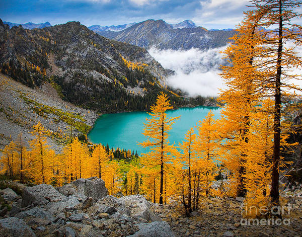 Alpine Lakes Wilderness Photograph - Misty Colchuck Lake by Inge Johnsson
