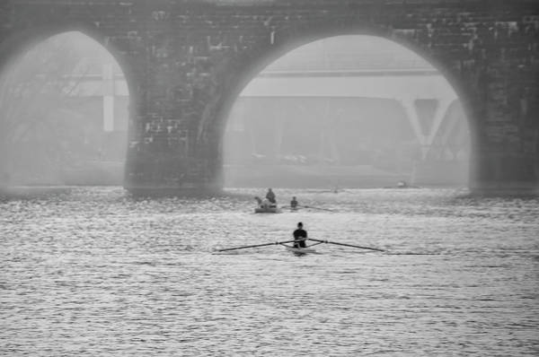 Photograph - Misty Day Along The Schuylkill In Black And White by Bill Cannon