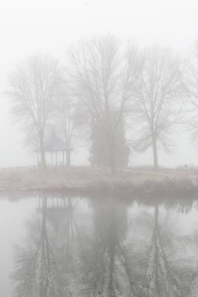 Photograph - Misty Haze Gazebo Vertical Reflection by Patti Deters