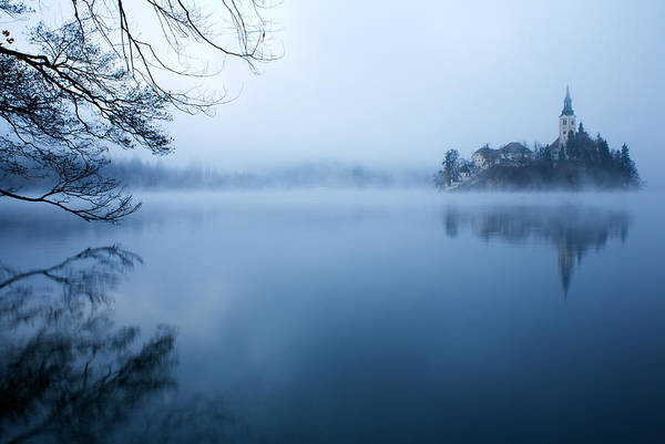 Wall Art - Photograph - Misty Lake Bled by Ian Middleton
