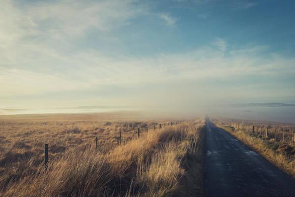 Moorland Photograph - Misty Moorland Road by Richard Nixon