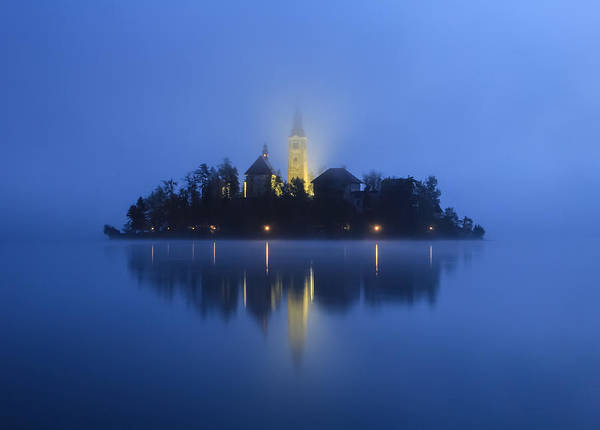 Misty Morning Lake Bled Slovenia Art Print