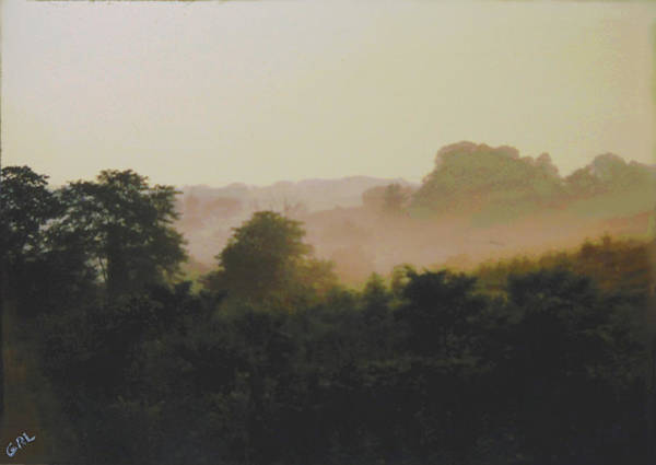 Painting - Misty Morning Maryland Landscape Original Fine Art Painting by G Linsenmayer