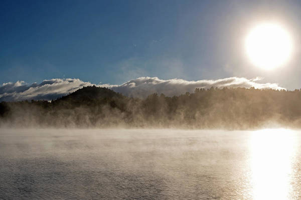Photograph - Misty Morning On Mirror Lake In Lake Placid Adirondacks Sunrise by Toby McGuire
