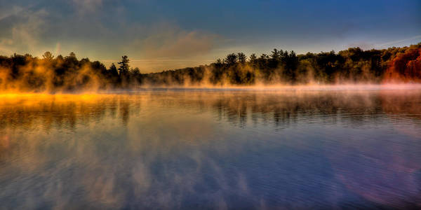 Fulton Chain Of Lakes Photograph - Misty Morning On Old Forge Pond by David Patterson