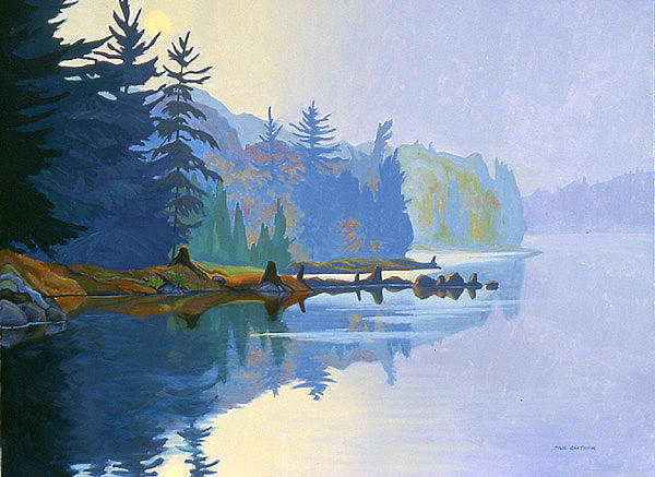 Wall Art - Painting - Misty Morning Redstone Lake by Paul Gauthier