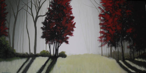 Wall Art - Painting - Misty Morning Woods by Candace Shockley