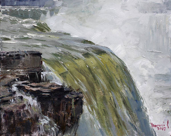 Wall Art - Painting - Misty Niagara Falls Ny by Ylli Haruni