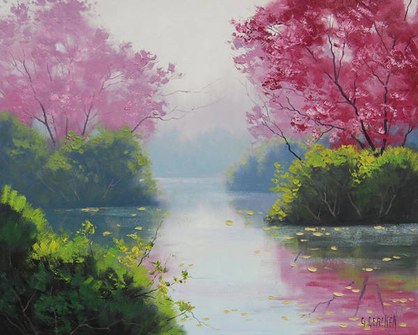 Hazy Wall Art - Painting - Misty River by Graham Gercken
