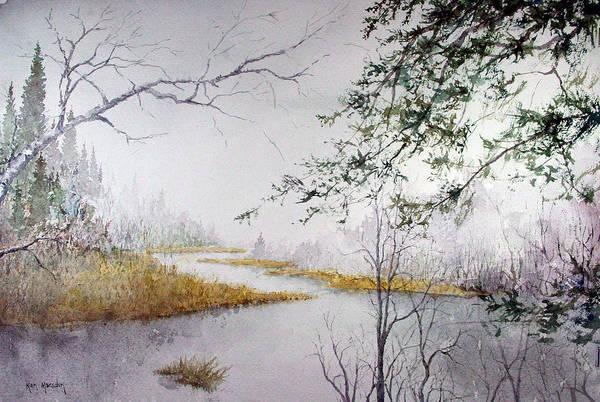Misty  River Morning Art Print