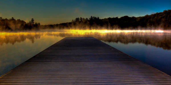 Fulton Chain Of Lakes Photograph - Misty Sunrise On Old Forge Pond by David Patterson