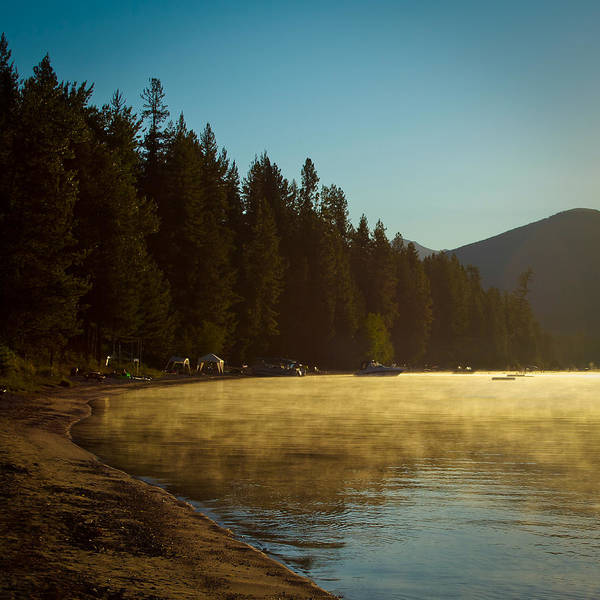 Priest Lake Photograph - Misty Sunrise On Priest Lake by David Patterson
