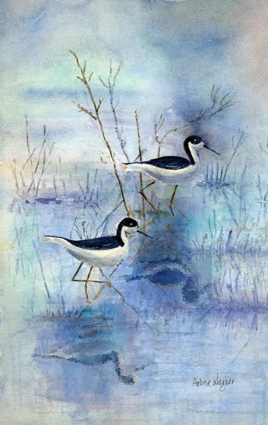 Marsh Bird Painting - Misty Swamp by Arline Wagner