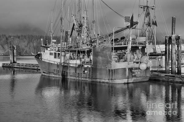 Photograph - Misty Ucluelet Harbor Black And White by Adam Jewell