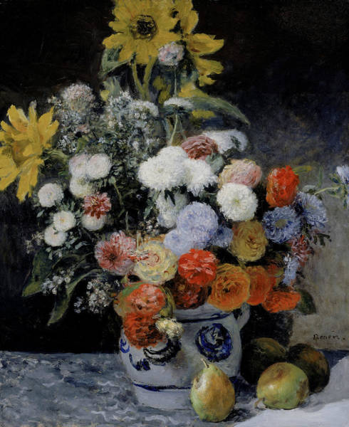 Painting - Mixed Flowers In An Earthenware Pot by Auguste Renoir