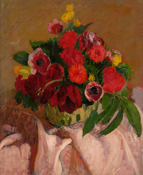 Painting - Mixed Flowers On Pink Cloth by Roderic O'Conor