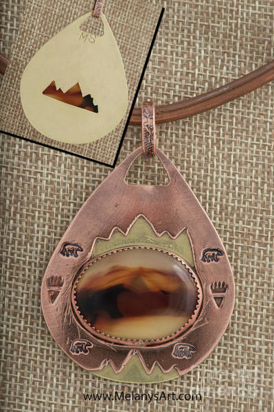 Jewelry - Mixed Metal Copper Brass Agate Pendant Necklace by Melany Sarafis