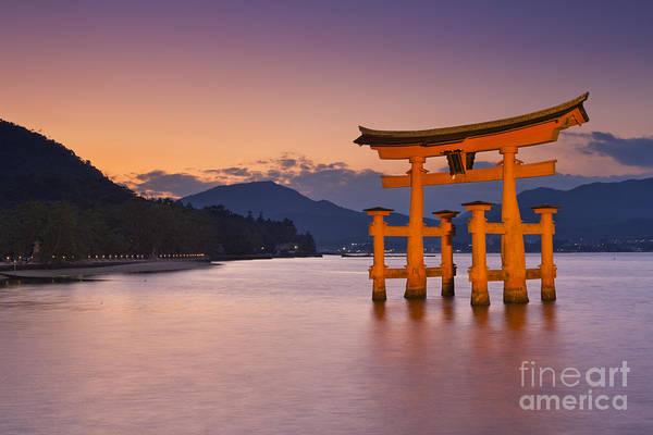 Wall Art - Photograph - Miyajima Torii Gate Near Hiroshima In Japan At Sunset by Sara Winter