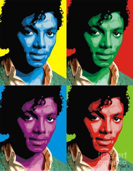 Digital Art - Michael Jackson - 4 Up In Color by Walter Neal