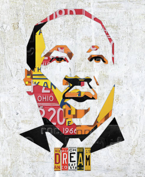 Vote Wall Art - Mixed Media - Mlk Dream Portrait In License Plates By Design Turnpike by Design Turnpike