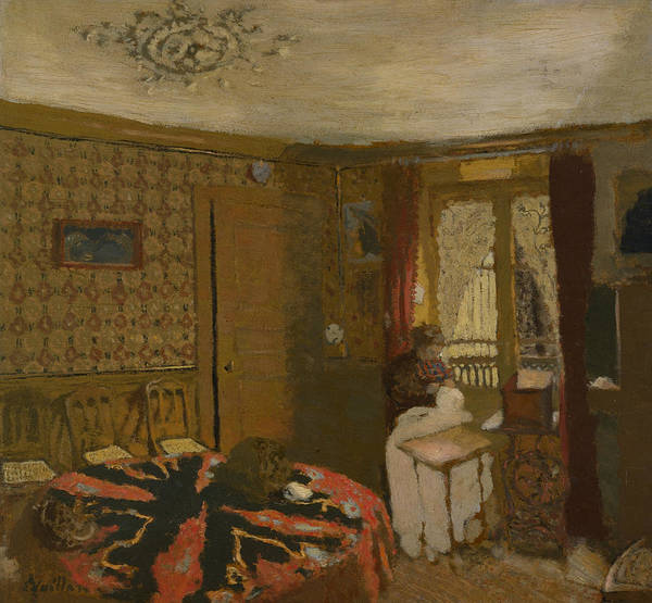 Painting - Mme Vuillard Sewing By The Window, Rue Truffaut by Edouard Vuillard