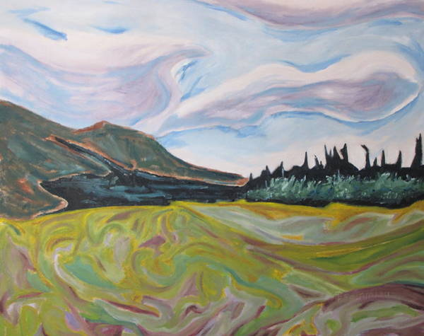 Wall Art - Painting - Mnt St-joseph On A Yellow Field  by Francois Fournier