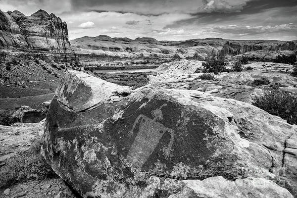 Petroglyph Photograph - Moab Maiden Petroglyph - Black And White - Utah by Gary Whitton
