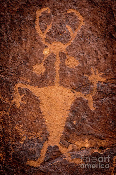 Petroglyph Photograph - Moab Man Petroglyph Portrait - Utah by Gary Whitton
