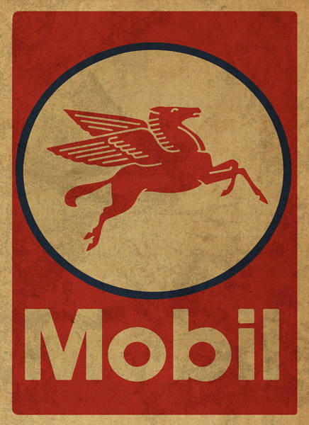 Gas Station Wall Art - Mixed Media - Mobil Oil Gas Station Sign Vintage Art by Design Turnpike
