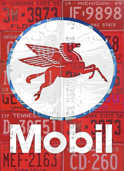Oil Mixed Media - Mobil Oil Gas Station Vintage Sign Recycled License Plate Art by Design Turnpike