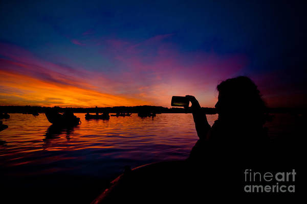 Photograph - Mobile Shooting Boats And Sunrise Above Lake Water Summer Time Latvia Ezera Skanas by Raimond Klavins
