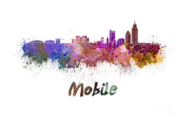 Alabama Painting - Mobile Skyline In Watercolor by Pablo Romero