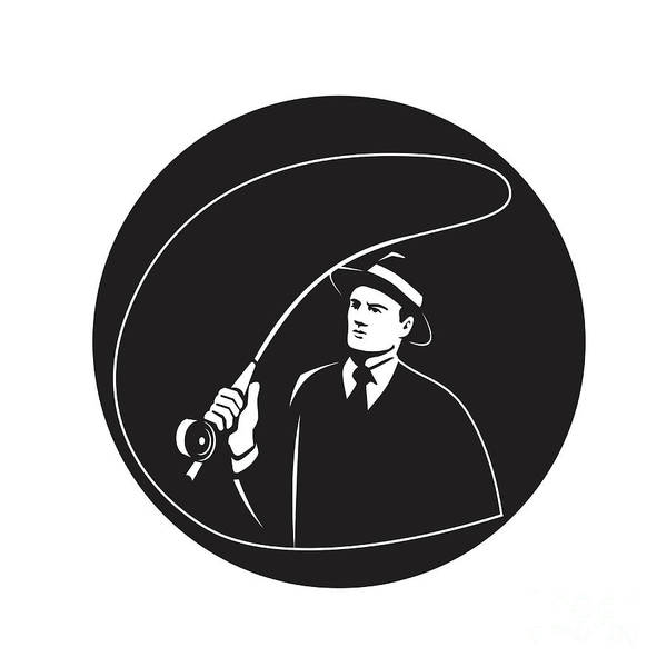 Wall Art - Photograph - Mobster Suit Tie Casting Fly Rod Circle Retro by Aloysius Patrimonio