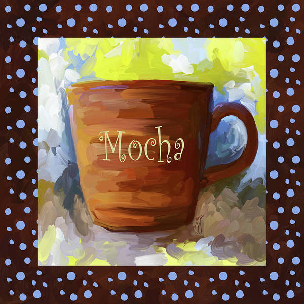 Wall Art - Painting - Mocha Coffee Cup With Blue Dots by Jai Johnson