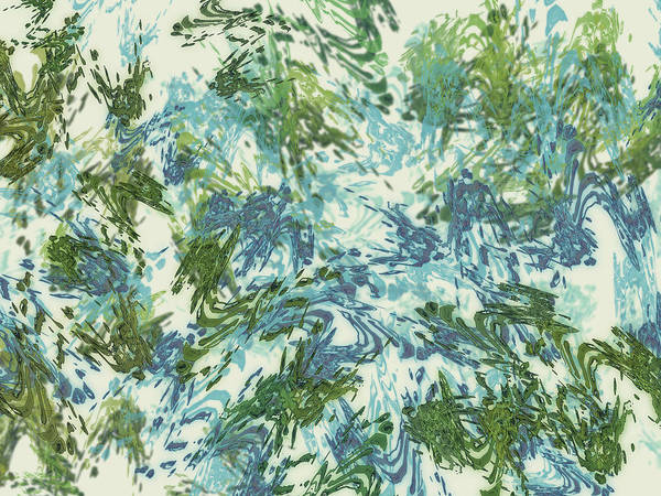 Mixed Media - Mock Floral Blue Green Abstract by Kristin Doner