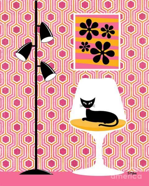 Digital Art - Mod Wallpaper In Pink by Donna Mibus