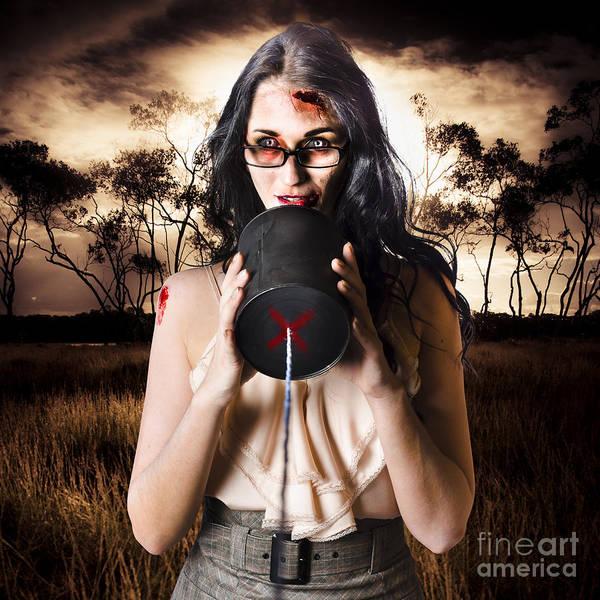 Wall Art - Photograph - Model In Devil Makeup Announcing Halloween Message by Jorgo Photography - Wall Art Gallery