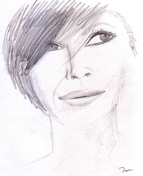 Drawing - Model Posing by M Valeriano
