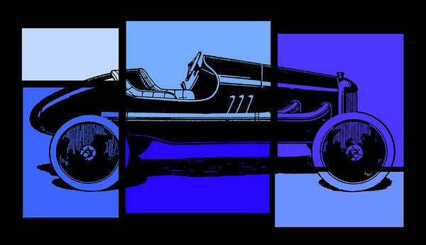 Digital Art - Model T Ford Racer Pop Blue by David King