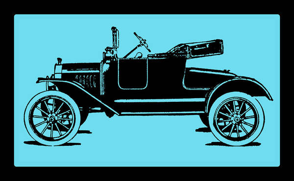 Digital Art - Model T Ford Roadster Pop Blue by David King