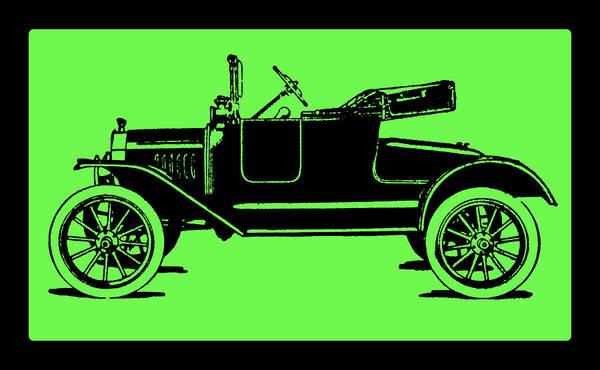 Digital Art - Model T Ford Roadster Pop Green by David King
