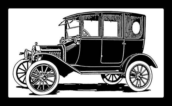 Digital Art - Model T Ford Sedan Pop White by David King