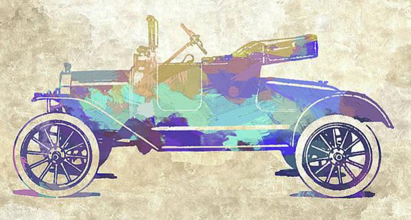 Digital Art - Model T Roadster Pop Art Abs by David King