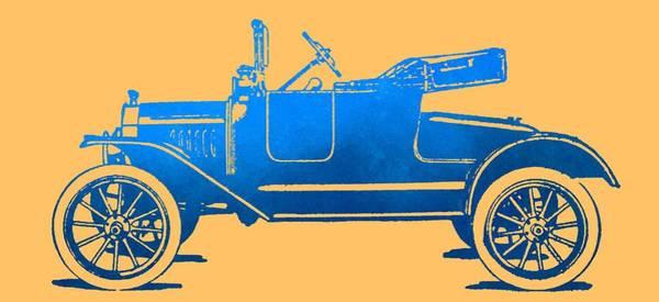 Digital Art - Model T Roadster Pop Art Blue Gradient by David King